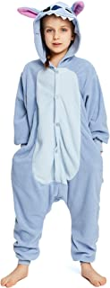 NEWCOSPLAY Kids Plush One Piece Cosplay Onesies Costume (125, Blue Stitch)