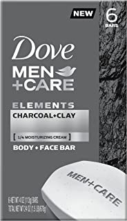 Dove Men+Care Elements Body and Face Bar Charcoal + Clay 4 oz 6 Bars