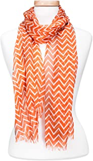 Tickled Pink Women's Game Day Sports Team Apparel Scarf or Wrap, Double Stripe Chevron