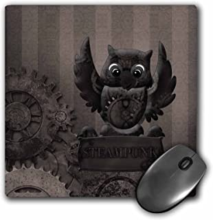 3dRose Decorated Brown Steam Punk Owl with Clockworks Mouse Pad, 8