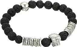 Lava Bead Skull Design Stretch Bracelet in Stainless Steel