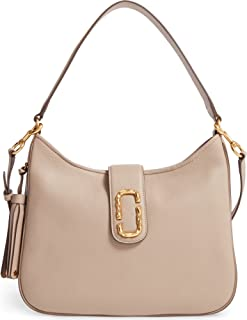 Interlock Leather Medium Hobo Shoulder Bag, Taupe