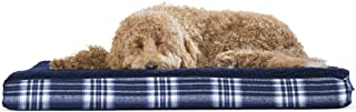 Furhaven Pet Dog Bed | Deluxe Orthopedic Mat Terry & Plaid Flannel Traditional Foam Mattress Pet Bed w/Removable Cover for Dogs & Cats