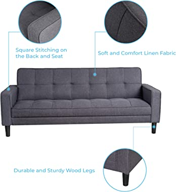 GOOD & GRACIOUS Mid Century Sofa Bed with Storage Modern Sofa Sleeper Small Couch Loveseat for Bedroom Living Room Small
