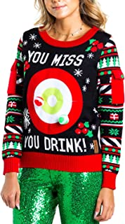 Women's Drinking Game Ugly Christmas Sweater - Funny Christmas Sweater