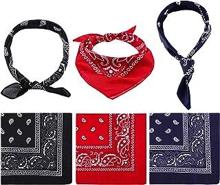 Bandana de Paisley Pañuelo de Vaquero Envoltura de Cabeza Impresa de Unisex Banda de Pulsera para Adultos y Niños (Rojo, Azul Marino y Negro, 6 Piezas)