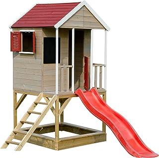 Wendi Toys M7 Summer Adventure House Casita Infantil de Madera en Plataforma para Exterior | Caseta Juegos niños Infantil de Madera casita para jardín