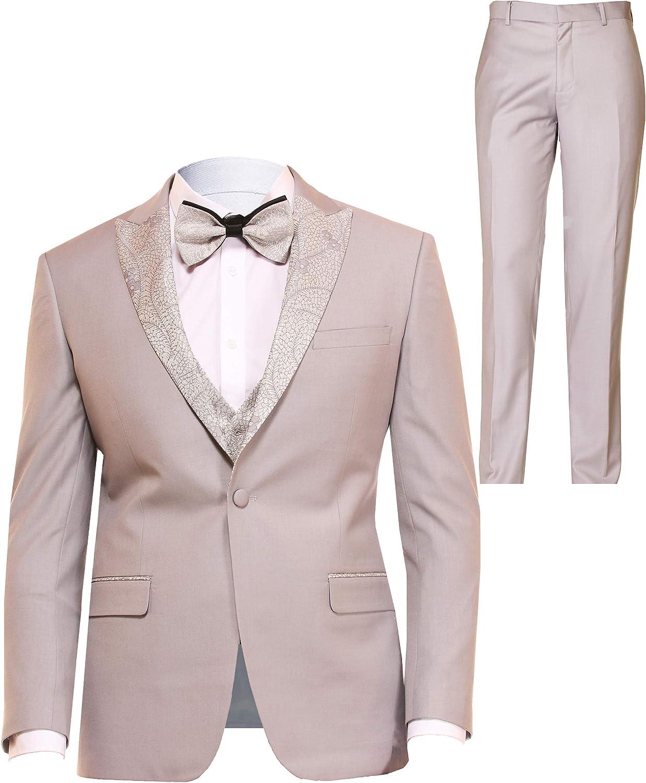 DANNY COLBY Tuxedo 3 Piece Suit Jacket Vest Pants & Bow Tie Wedding Tuxedo Prom Black Tuxedo Tux
