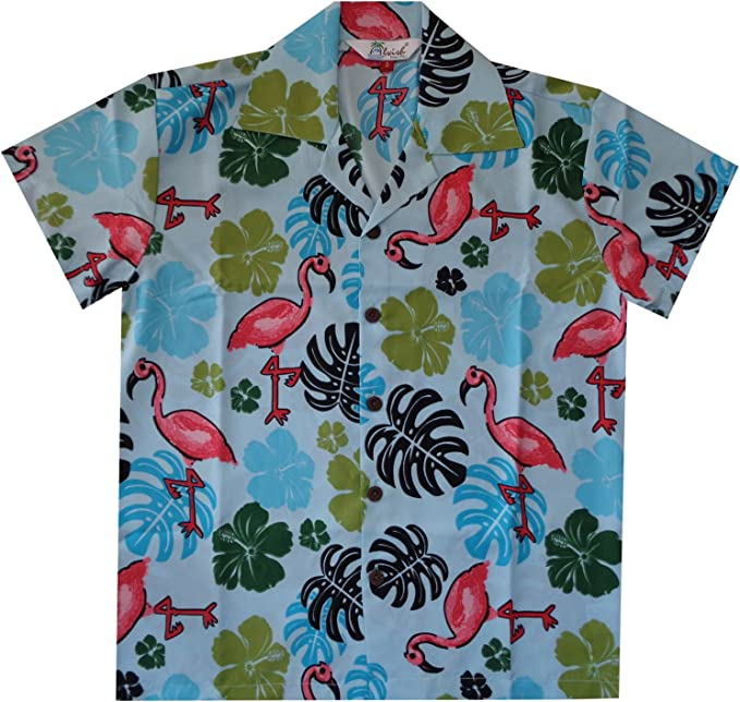 Camisa hawaiana para niños, flamenco, playa, Aloha, fiesta, campamento de manga corta, informal, para vacaciones
