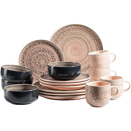 MÄSER 931743 Série Spicy Market Service de table 16 pièces en céramique peint à la main pour 4 personnes, au design vintage méditerranéen, rose, en grès