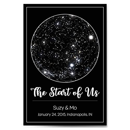 Custom Personalized Star Constellation Map Chart Choose Your Font Engagement Anniversary