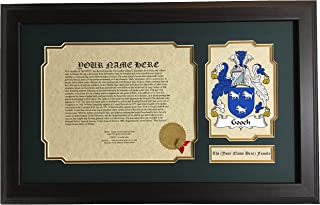 Gooch - Coat of Arms and Last Name History, 14x22 Inches Matted and Framed
