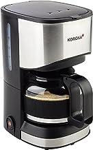Korona 12015 roestvrijstalen koffiezetapparaat in zwart - filter koffiezetapparaat voor 5 kopjes koffie met een pot van glas