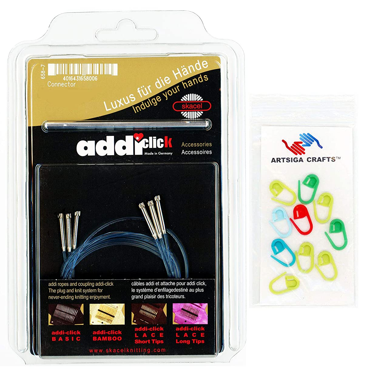 addi Knitting Needle Click Turbo Basic Set Interchangeable Skacel Exclusive Blue Cord 24 inch (60cm) 3 Pack with Connector Bundle with 10 Artsiga Crafts Stitch Markers