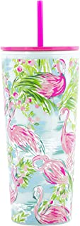 Lilly Pulitzer Double Wall Travel Tumbler with Reusable Straw, Holds 24 Ounces, Floridita
