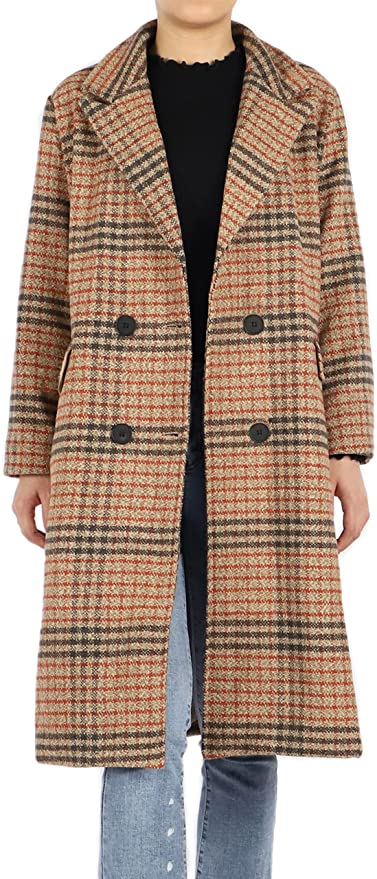 1940s Coats & Jackets Fashion History Tanming Womens Double Breasted Wool Coat Lapel Plaid Mid Long Trench Pea Coat  AT vintagedancer.com