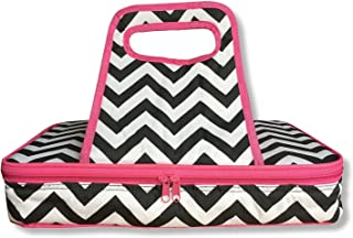 "Thermal Insulated 10""x15"" Pink Black and White Chevron Casserole Carrier - Hot or Cold - Double Zipper and Handles"