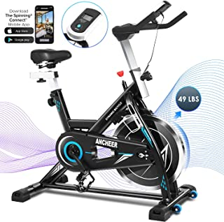 ANCHEER Exercise Bike Foldable Stationary , Indoor Cycling Bike with Sport APP and 49LBS Flywheel,Quiet and Smooth ,New Levels Exercise Bikes Stationary 300 lb Weight Capacity for Home Use
