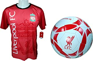 Liverpool F.C. Soccer Official Soccer Training Jersey & Size 5 Ball Combo