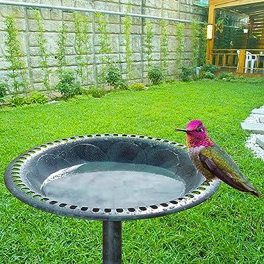VINGLI Wild Bird Bath Green Patina Weather Resistant Resin Pedestal Birdbaths Antique Sculpture Finish Garden Decor for Outdo