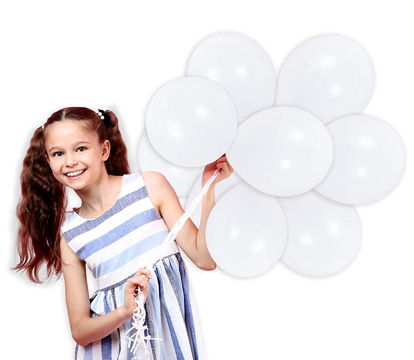 Pearl White Solid Latex Balloons 100 Pack Graduation Party Supplies Premium Quality for Arch Column Stand School Wedding Baby Shower Birthday Party Decorations