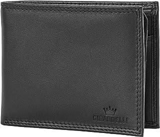 Portafoglio Uomo Vera Pelle Nero. Portafoglio Semplice Blocco RFID con Portamonete Capiente e Porta Tessere Carta d'Identi...