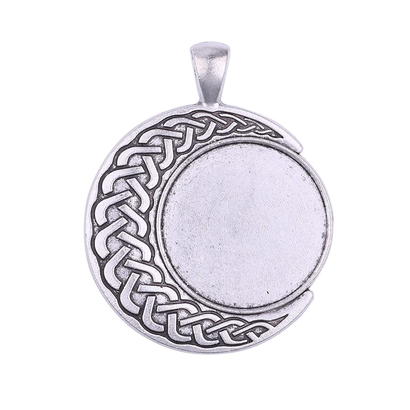 15pcs 25mm Antique Silver Round Star Moon Trays Bezels Cameo Setting Cabochon Pendant Charms for Crafting DIY Neckalce Jewelry Making