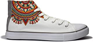 Rivir Printed Canvas High Top Sneakers Shoes for Women's (Men-UK -6) White