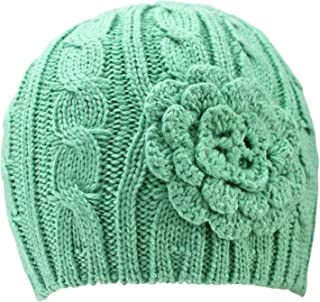 Luxury Divas Thick Cable Knit Beanie Hat with Rosette