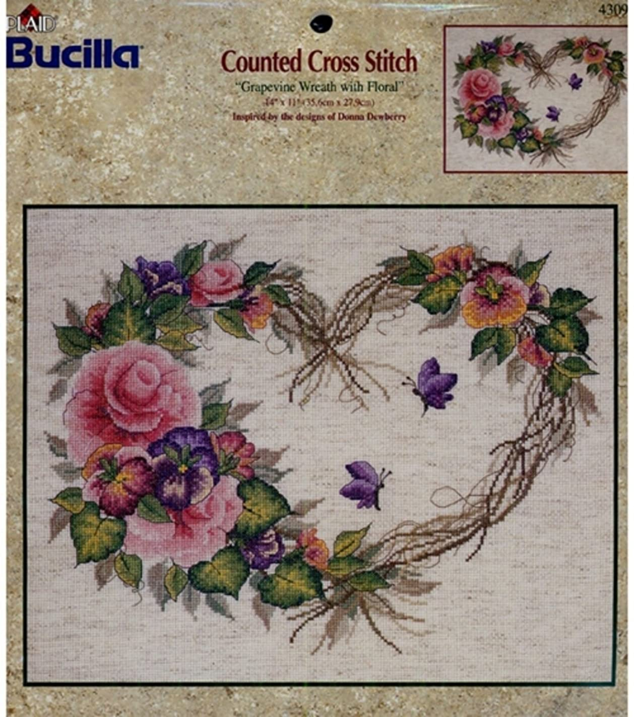 Bucilla Counted Cross Stitch Kit, 14 by 11-Inch, 43092 Grapevine Wreath