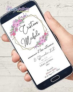 Invito Matrimonio cerimonia wedding personalizzato save the date da stampare e whatsapp