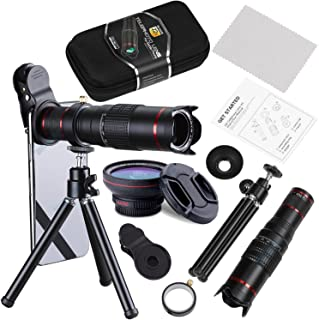 22X Camera Lens Kit BECROWM 22X HD Zoom Telephoto Lens with Double Regulation Adjustment FOV,0.5X Super Wide Angle,15X Mac...