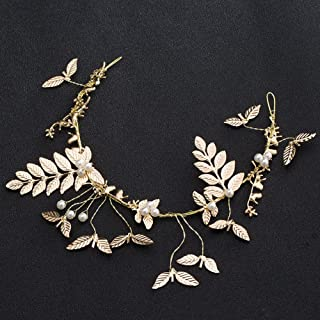 Dedila 1 pcs/set Vintage Baroque wedding hair accessories Flower Crown And Tiara bridal tiara gold leaf Hair jewelry Bride crown