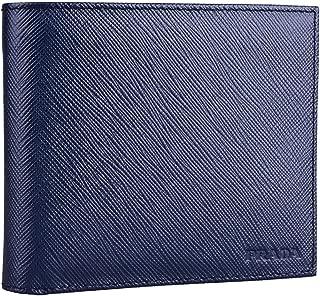 Prada Men's Bi Fold Saffiano Cuir Leather Baltico Navy Blue Wallet 2MO513