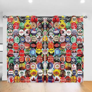 NiYoung World Beer Bottle Caps Set Window Curtain Grommet Top, Blackout Curtains for Bedroom, Thermal Insulated Room Darkening Curtains Window Draperies