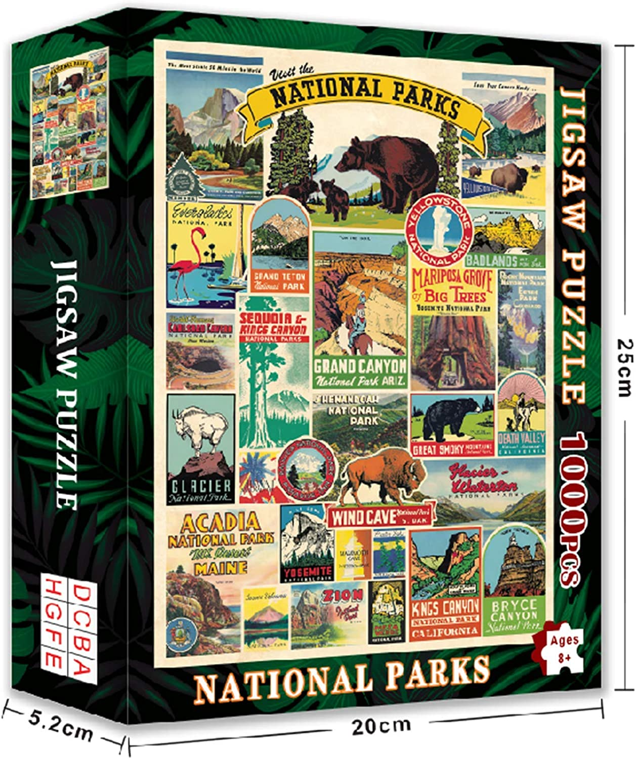 62 National Parks Wilderness Wonder 1000 Pieces Puzzles for Adults Jigsaw Puzzle Artwork Style Gifts DIY Mural Painting Entertainment Intellective Educational Toy Ideas for Relaxation Meditation Hobby
