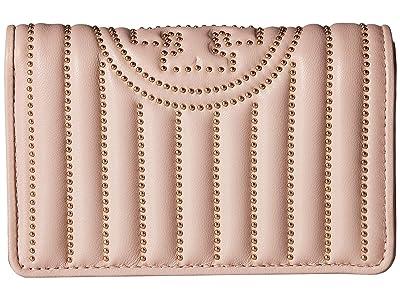 Tory Burch Fleming Mini Stud Slim Medium Wallet (Shell Pink) Wallet Handbags