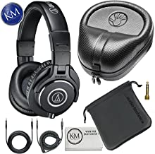 Audio-Technica ATH-M40x Professional Studio Monitor Headphones + Slappa Full Sized HardBody PRO Headphone Case (SL-HP-07)