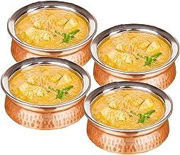 طقم من 4 قطع - وعاء تقديم نحاسي - طقم تقديم هندي - قطر 12.7 سم