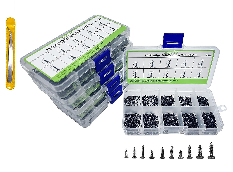 M1 M1.2 M1.4 M1.7 Screw Suit-JERLITU 500pcs Phillips Head Micro Screws,Multi-Purpose Small Screws Assortment Kit,Tiny Self-Tapping Screws Assortment Kit,for Glasses Watches Electronics etc