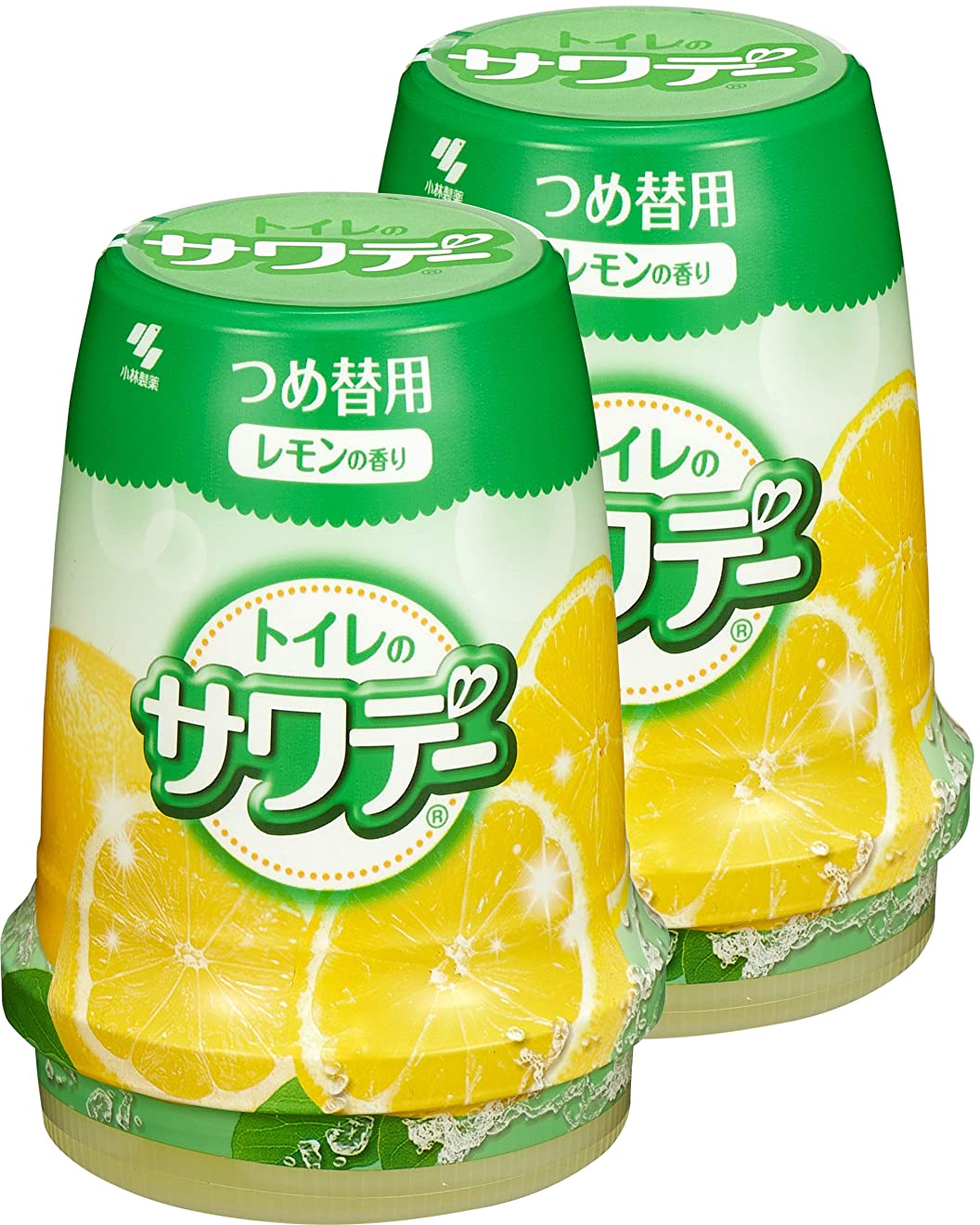 粘着性記録牽引【まとめ買い】サワデー 消臭芳香剤 トイレ用 詰め替え用 気分すっきりレモンの香り 140g×2個