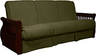 Laguna Perfect Sit & Sleep Pocketed Coil Inner Spring Pillow Top Sofa Sleeper Bed, Full-size, Mahogany Arm Finish, Microfiber Suede Olive Green Upholstery