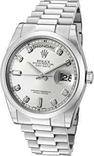 Rolex Men's Day-Date Automatic White Diamond Silver Dial President Platinum