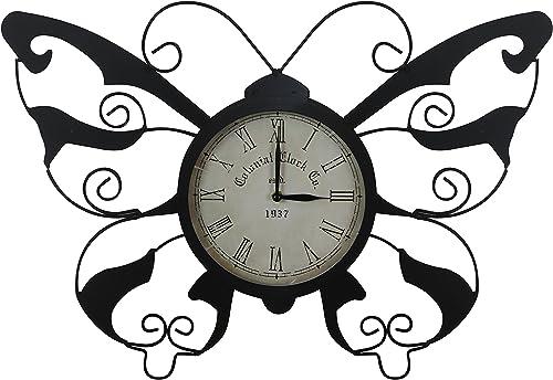 "lowest Alpine outlet online sale popular HAV110 Butterfly Clock, 15"", Multicolor online"