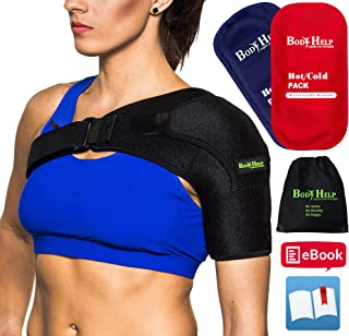 BODY HELP Shoulder Brace Support with Pressure Pad + Hot Cold Reusable Pack for Immediate Pain Relief + Bag + Ebook + Instructions Best Wrap for Rotator Cuff, Dislocated AC, Sprain, Soreness, Bursitis