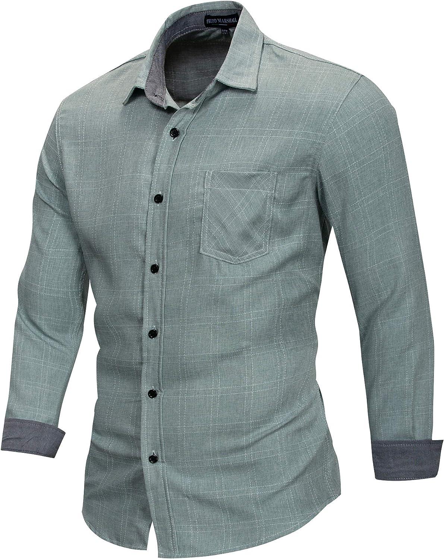 All--In Camisa para hombre, corte ajustado, de manga larga, básica, informal, para bodas, negocios, color puro, de la M a la 3XL
