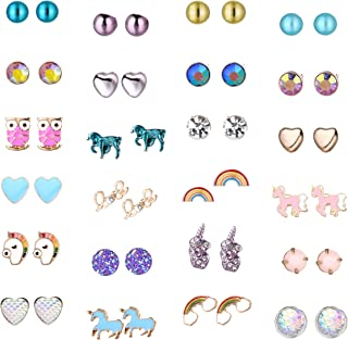 24 Pairs Cute Animals Hypoallergenic Stud earrings sets for kids Little Girls Unicorn Gift,Children's Colorful Unicorn Earrings Nickel-free Earrings,Christmas Gift
