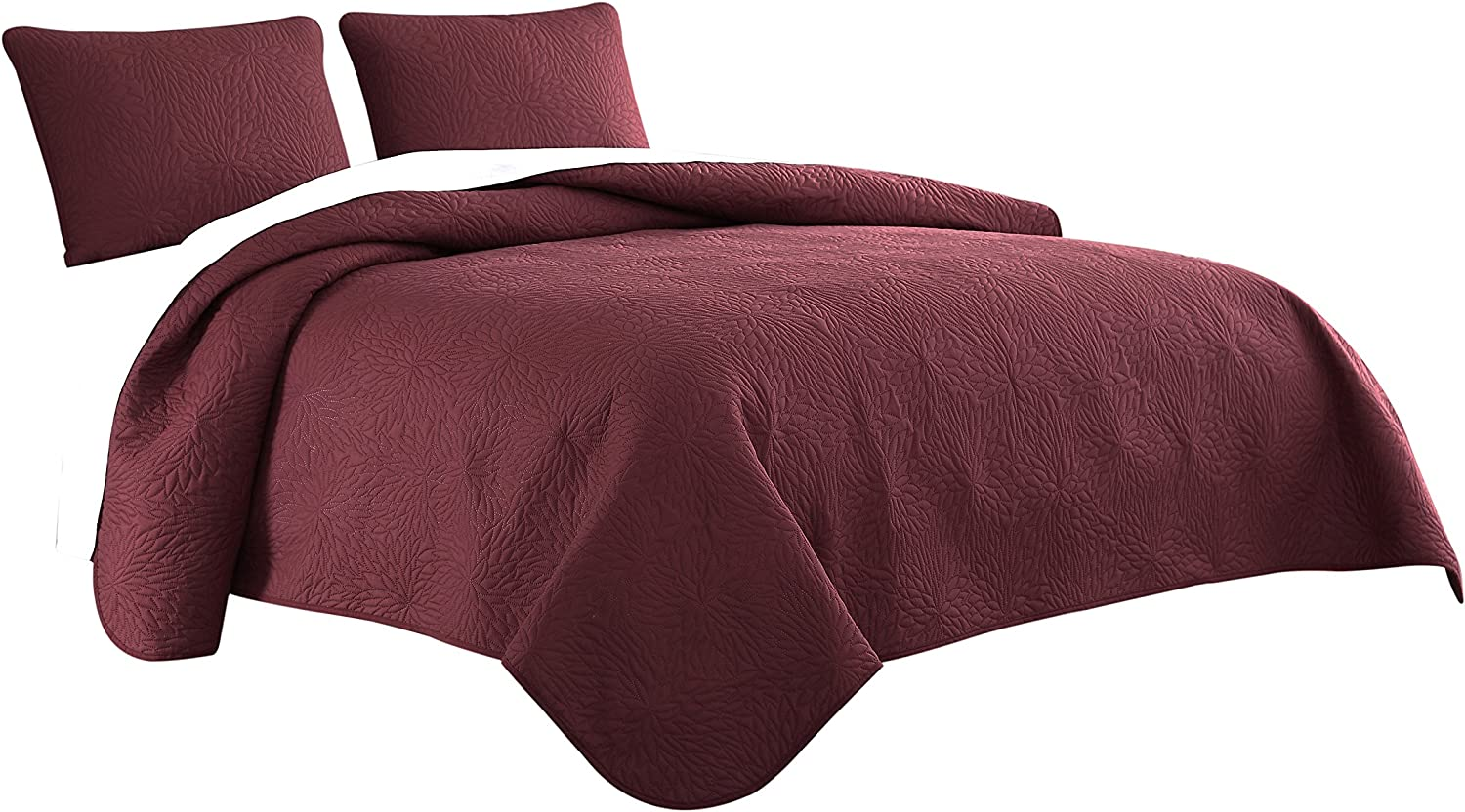 Cozy Beddings Aidee 3pc Coverlet Set King Cal-King Size Bed Lightweight Thermal Pressing Leafage   Burgundy