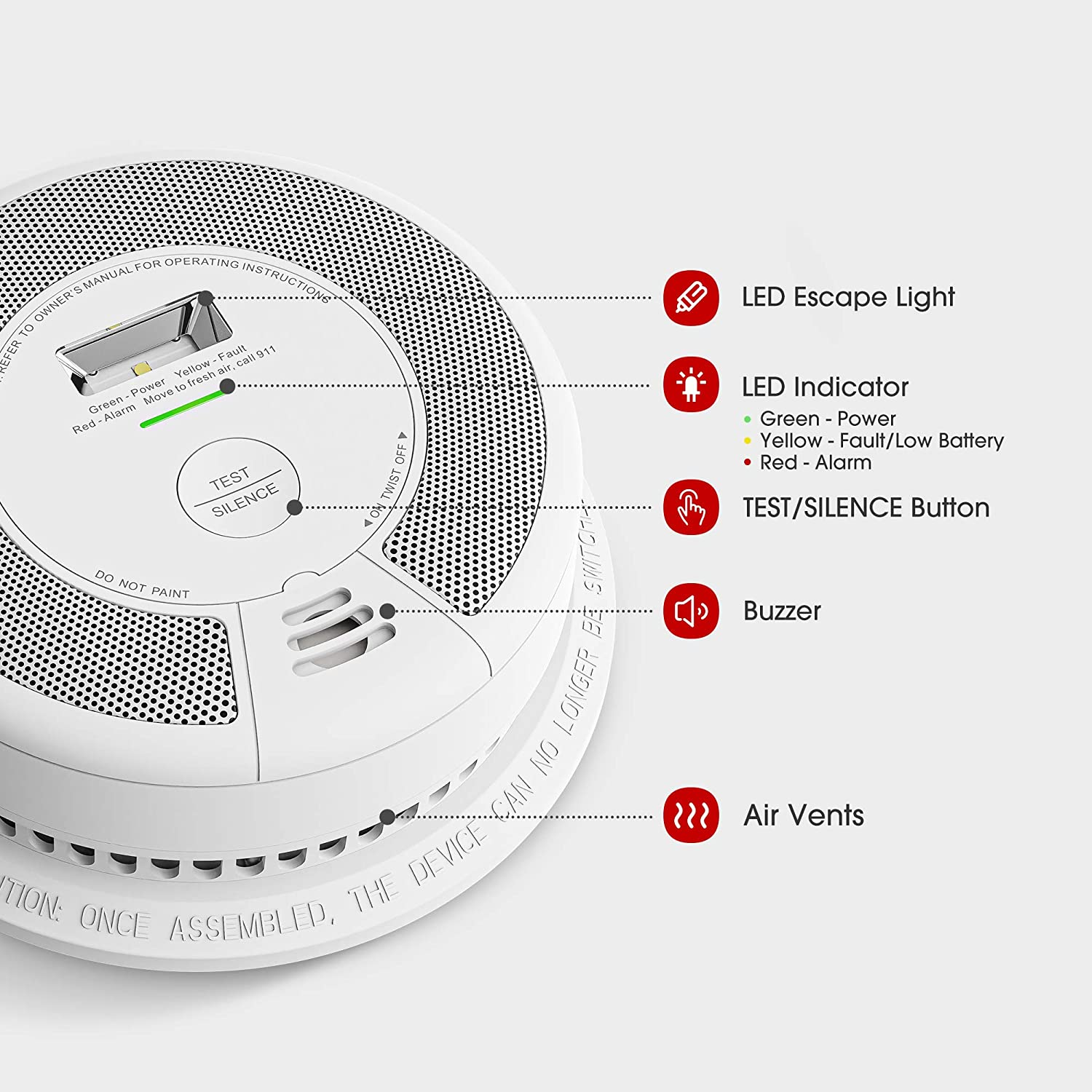 Fire Smoke Alarm 10-Year Battery Not Hardwired X-Sense Smoke Detector with Escape Light Compliant with UL 217 Standard SD07
