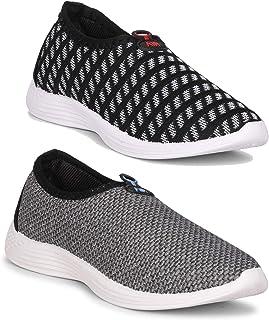 Claptrap Comfortable Sneaker Women Combo Shoes Pack of 2 Pc (Black-Grey)